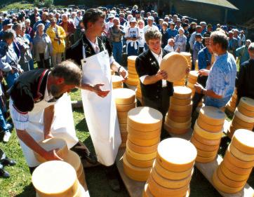 Käse wird geteilt am Chästeilet, Hasliberg